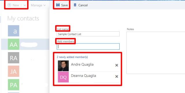 Adding a contact list